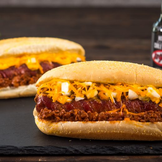 Double Bacon Chili Dogs