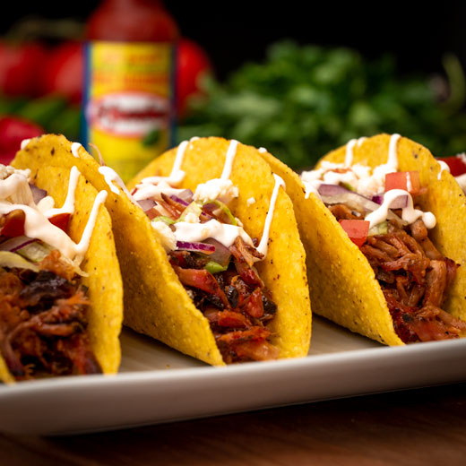 Pulled Pork Tacos with Fiery Habanero Sauce